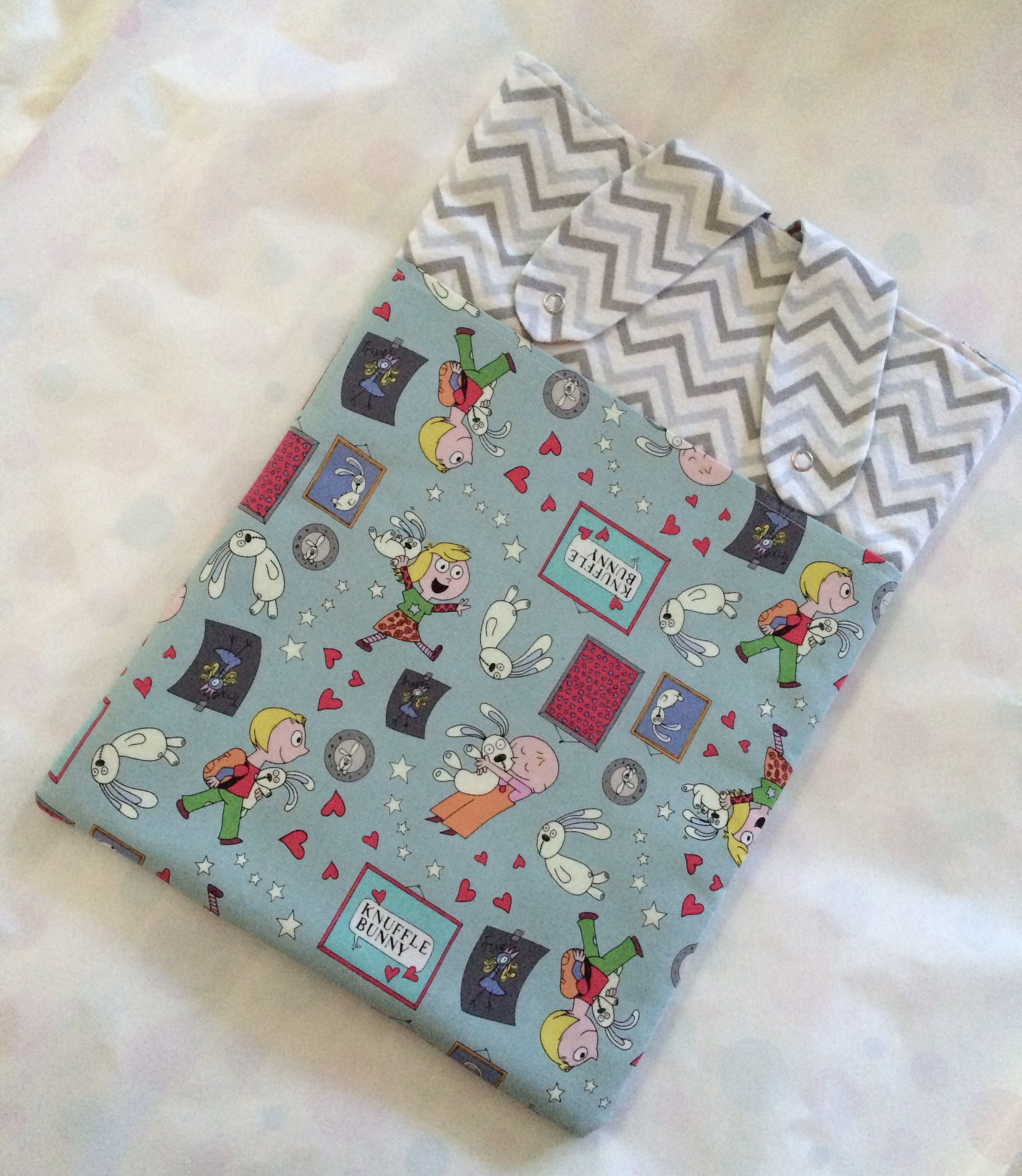 Handmade Knuffle Bunny Laptop sleeve (ears down), photo by Heidi M. Kim