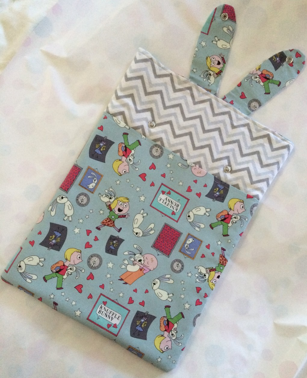 Handmade Knuffle Bunny Laptop sleeve (ears up), photo by Heidi M. Kim