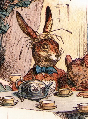 from the Mad Tea Party illustration by John Tenniel, image in public domain